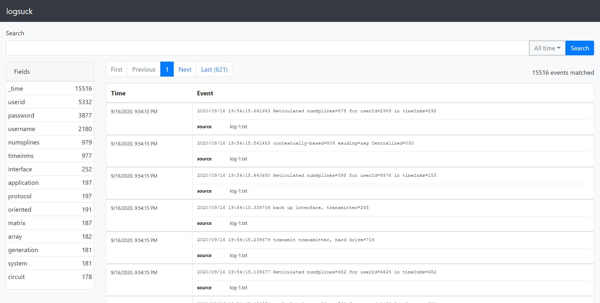 a screenshot of the Logsuck GUI